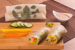 Traditional Japoneses Harumaki. Vegetables Springroll with sauce Royalty Free Stock Photo