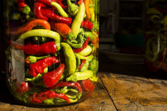 Traditional Jarred yellow, green, red, hot peppers. Stock Photography