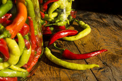 Traditional Jarred yellow, green, red, hot peppers. Stock Image