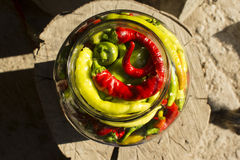 Traditional Jarred yellow, green, red, hot peppers. Royalty Free Stock Photos