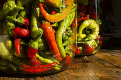 Traditional Jarred yellow, green, red, hot peppers. Royalty Free Stock Image