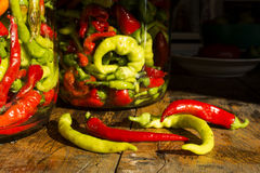 Traditional Jarred yellow, green, red, hot peppers. High resolution image Stock Image