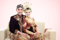 Traditional java wedding couple Stock Images
