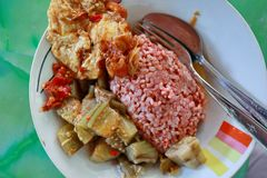 Traditional Javanese food containing red rice with eggplant and egg dishe stock images