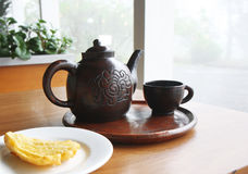 Traditional Javanese Tea and Fried Banana. The Set of Javanese Tea for Breakfast with Indonesian fried banana Stock Image