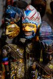 Traditional Javanese Wayang Golek theatre puppets being sold as sourvenirs in Pawon, Java, Indonesia. Traditional Javanese Wayang Golek theatre puppets being Royalty Free Stock Photography