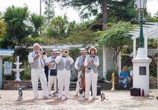 Traditional jazz band perform. Tauranga, New Zealand - April 1, 2013;Traditional jazz band Twin City Stompers perform in Tauranga Historic Village for jazz Royalty Free Stock Photo