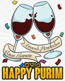 Traditional Purim Celebration with Wine Glasses Toasting in the Feast, Vector Illustration. Traditional Jewish celebration of Purim -written in Hebrew- of drink Stock Photo