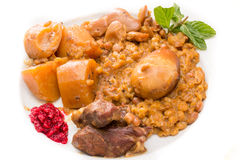Traditional Jewish Cholent (Hamin) from Israel served with horse Stock Photos