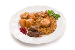 Traditional Jewish Cholent (Hamin) from Israel served with horse Royalty Free Stock Photography