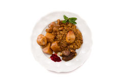 Traditional Jewish Cholent (Hamin) from Israel served with horse Stock Images