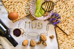Traditional Jewish food and drink for Jewish Passover - Pesach holiday. Close up of kosher meal symbolizing ritual of holiday event designated for Jewish Royalty Free Stock Photos