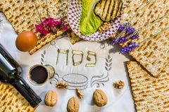 Traditional Jewish food and drink for Jewish Passover - Pesach holiday. Close up of kosher meal symbolizing ritual of holiday event designated for Jewish Stock Photo