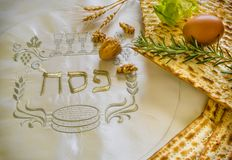 Traditional Jewish food and drink for Jewish Passover - Pesach holiday. Close up of kosher meal symbolizing ritual of holiday event designated for Jewish Royalty Free Stock Photography