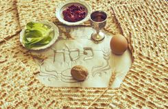 Traditional Jewish food and drink for Jewish Passover - Pesach holiday. Close up of kosher meal symbolizing ritual of holiday event designated for Jewish Stock Image