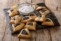 Traditional Jewish holiday food - Purim Hamantaschen close-up. H Royalty Free Stock Photos
