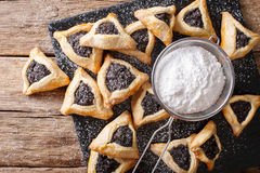 Traditional Jewish holiday food - Purim Hamantaschen close-up. h Stock Photos