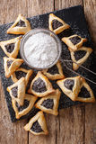 Traditional Jewish holiday food - Purim Hamantaschen close-up. V Stock Photo