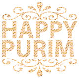 Traditional Jewish holiday - Happy Purim written in English Royalty Free Stock Photos