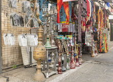 Traditional Jewish and Oriental souvenirs in a street shop in Tel Aviv Stock Photos