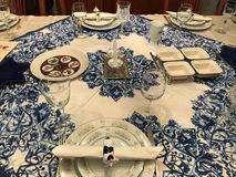 Traditional Jewish Passover dinner table setting. Table set for Passover dinner Jewish celebration traditional Stock Photo