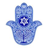Jewish hamsa tattoo. Traditional Jewish sacred amulet and religious symbols in national Jewish colors - Hamsa or hand of Miriam, palm of David, star of David stock illustration