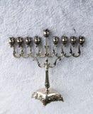 Сhanukiah. Traditional Jewish silver candle holder - chanukiah Royalty Free Stock Photography