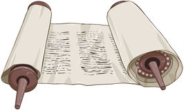 Traditional Jewish Torah Scroll With Text. Vector illustration of an open torah scroll with text Royalty Free Stock Image