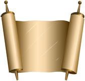 Traditional Jewish Torah Scroll. Vector illustration of an open torah scroll Royalty Free Stock Photo