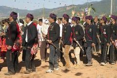 Traditional Jingpo Men at Dance Royalty Free Stock Photos