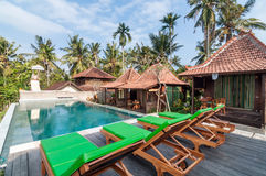 Traditional Joglo Private villa with pool outdoor Royalty Free Stock Image