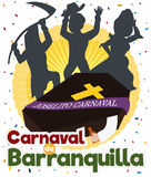 Traditional Joselito`s Burial with Festive People Silhouettes for Barranquilla`s Carnival, Vector Illustration. Poster with traditional Joselito`s death Stock Image