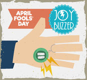 Traditional Joy Buzzer for April Fools' Pranks, Vector Illustration. Hand with joy buzzer ready to a prank everyone in April Fools' Day, in retro style poster Royalty Free Stock Photos