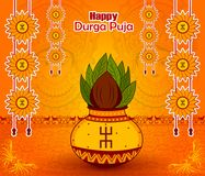 Traditional Kalash on Durga Puja for Happy Dussehra or Shubh Navratri festival. In vector Stock Photography