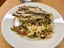 Traditional Karadeniz Food Hamsi Pilav / Anchovy with Rice. Seafood. Organic Food royalty free stock photo