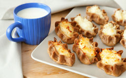 Traditional Karelian Pasties And Cup Of Milk Royalty Free Stock Photo