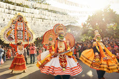 Traditional Kathakali dance on New Year carnival Royalty Free Stock Photography