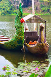 Traditional khmer boats with carved bows Stock Images