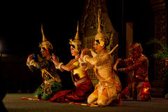 Traditional Khmer dance in Cambodia. SIEM REAP, CAMBODIA - SEPTEMBER 11: A traditional Khmer Cambodian dance depicting the ramayana epic on September 11, 2010 in Royalty Free Stock Image