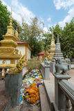 Traditional Khmer stupas in Siem Reap temple with rubbish, Cambo Royalty Free Stock Photos