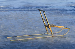 Traditional kicksled on ice Royalty Free Stock Photo