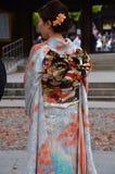 An orange traditional kimono dress. royalty free stock photo