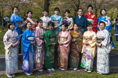 Traditional kimono dressed Japanese Stock Photography