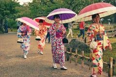 Traditional kimonos in Kenroku-en garden in Kanazawa Royalty Free Stock Photography
