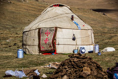 A traditional  Kirgiz yurt- Song Kol area Stock Photography
