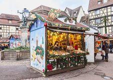 Traditional Kisok in an Alsatian Christmas Market Stock Photo