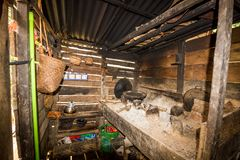 Traditional kitchen of a hut of native people of indonesia. Kalimantan stock images