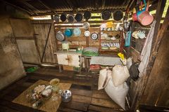 Traditional kitchen of a hut of native people of indonesia. Kalimantan royalty free stock images