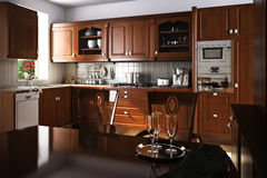 Traditional kitchen interior design Stock Images