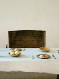 Traditional Kitchen Setting. View of a traditional, simple kitchen table setting Stock Photography